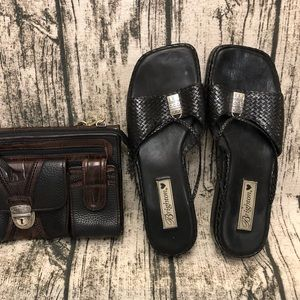 Brighton black weave sandals
